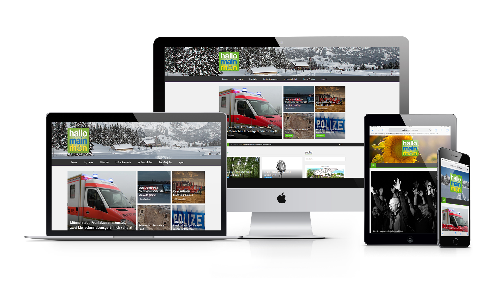 Hallo Main-Rhön Webseite auf den Geräten: iMac, macbook, ipad und iphone zu sehen
