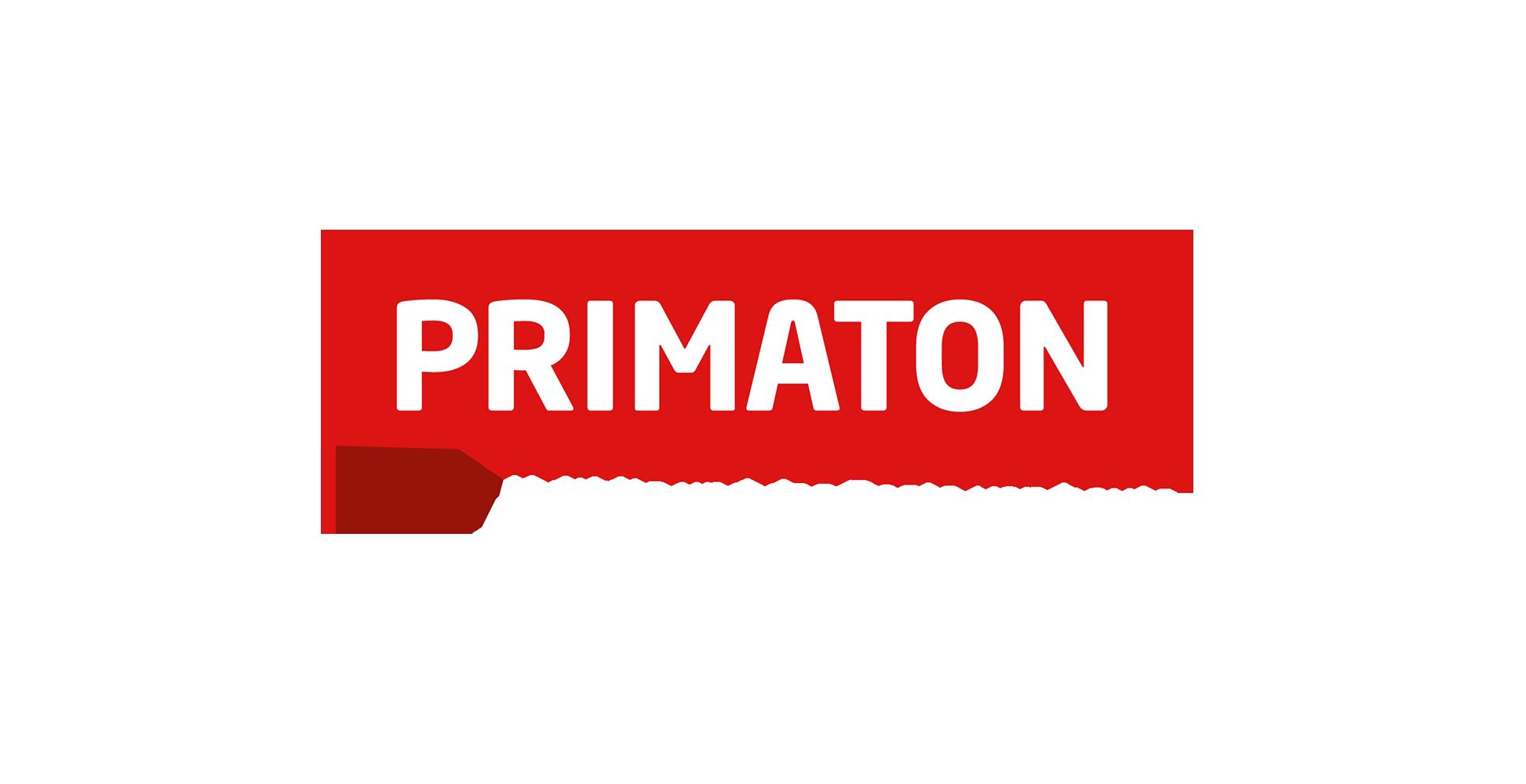 Primaton logo weiß mit weißem Schriftzug
